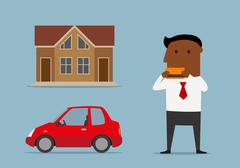 Manager bought car and house by credit card - stock illustration