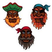 Cartoon pirate captain and sailors heads - stock illustration