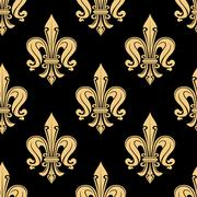 Vintage seamless golden fleur-de-lis pattern - stock illustration