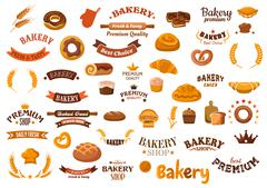 Bakery and pastry food design elements Piirros