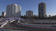 Long Beach Grand Prix, Empty Track & Grandstands Stock Footage