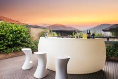 Elegant furniture and design in modern patio Stock Photos