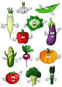 Healthful organic vegetables cartoon characters Piirros