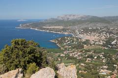 View of the coastline and the historic town of Cassis from a hilltop, Cassis, Stock Photos
