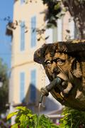 Fountain in the form of a man in Cassis old town, Cassis, Provence, France, Stock Photos