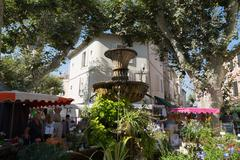 Traditional open air market in the historic town of Cassis, Cote d'Azur, Stock Photos