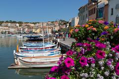 Traditional fishing boats moored in the harbour of the historic town of Cassis, Stock Photos