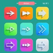Set arrow icons, flat UI design trend Stock Illustration