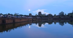 Water reflection at Angkor Wat Cambodia ancient civilization temple - stock footage