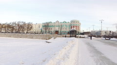 Winter panorama of the city pond. Yekaterinburg, Russia Stock Footage