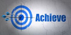 Stock Illustration of Finance concept: target and Achieve on wall background