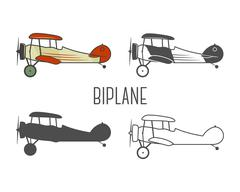 Set of vintage aircraft design elements. Retro Biplanes in color, line Stock Illustration