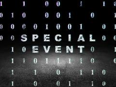 Finance concept: Special Event in grunge dark room - stock illustration