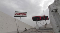 Drag Strip Finish Sign with Timer - stock footage