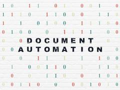 Stock Illustration of Business concept: Document Automation on wall background