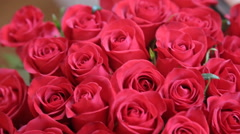 Large beautiful bouquet of freshly cut big red roses Stock Footage