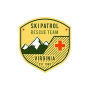 Ski Patrol Label. Retro Mountain winter sports explorer badge. Outdoor mountain - stock illustration