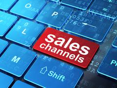 Marketing concept: Sales Channels on computer keyboard background - stock illustration