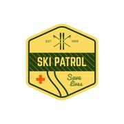 Ski Patrol Label. Vintage Mountain winter sports explorer badge. Outdoor Stock Illustration