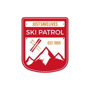 Ski Patrol Label. Vintage Mountain winter sports explorer badge. Outdoor - stock illustration