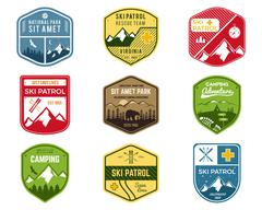Set of Ski Club, Patrol Labels. Vintage Mountain winter camping explorer badges - stock illustration