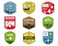 Stock Illustration of Set of Ski Club, Patrol Labels. Vintage Mountain winter camping explorer badges