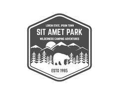 National park vintage badge. Mountain explorer label. Outdoor adventure logo - stock illustration