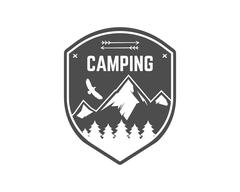 Stock Illustration of Camping Label. Vintage Mountain winter camp explorer badge. Outdoor adventure