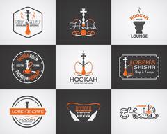 Hookah labels, badges and design elements collection. Vintage shisha logo Stock Illustration