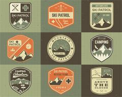 Set of Retro style Ski Club, Patrol Labels. Classic Mountain elements. Winter or - stock illustration