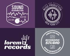 Vector music production studio logos set. Musical label icons. Music insignia Stock Illustration