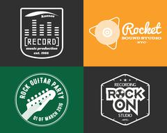 Vector music production studio logos set. Musical label icons. Music insignia - stock illustration