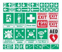Stock Illustration of Emergency Evacuations Sings