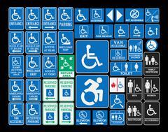 Handicap signs - stock illustration