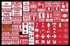 Emergency Fire Sings Stock Illustration
