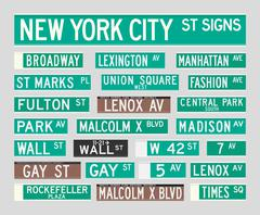 New York Street Signs - stock illustration