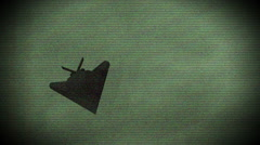 Stealth fighter plane in nightvision Stock Footage
