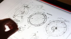 Technical drawing on touch screen computer Stock Footage