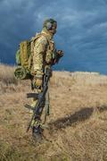 Odessa, Ukraine - December 02, 2015: Soldier with a gun in the medical field Stock Photos