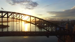 Sydney Harbour Bridge in Sydney at sunrise Stock Footage