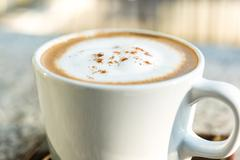 Close-up of Coffee,Cappuccino coffee cup Stock Photos