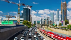 City Traffic Panning in Tel Aviv at Day Timelapse in motion, Hypelapse Stock Footage