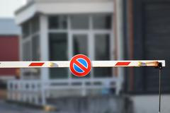 red barrier entry - stock photo