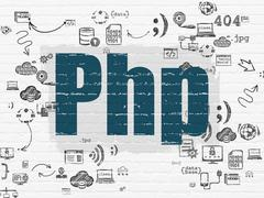 Programming concept: Php on wall background - stock illustration