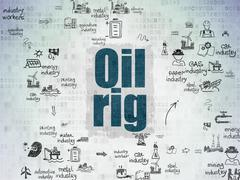 Industry concept: Oil Rig on Digital Paper background Stock Illustration