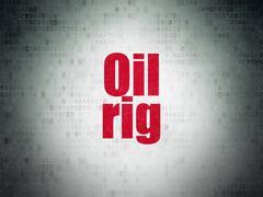 Manufacuring concept: Oil Rig on Digital Paper background Stock Illustration