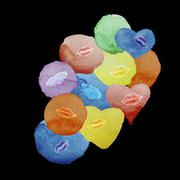 Colored hearts and spots watercolor kissing lips on a black background, an ab Stock Illustration