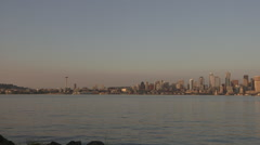 Pan Across Seattle Skyline, Sunset, With Waterfront Stock Footage