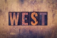 West Concept Wooden Letterpress Type - stock photo