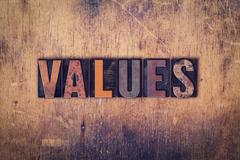 Stock Photo of Values Concept Wooden Letterpress Type